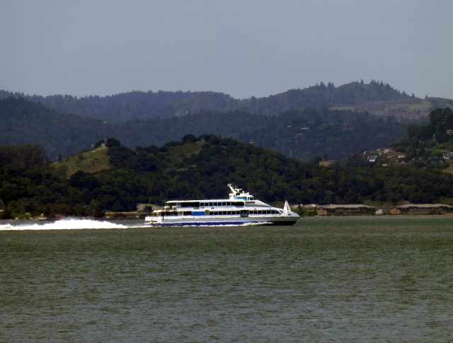 Ferry cruises up San Pablo Bay towards Vallejo.  Beats 35 miles of traffic jams!